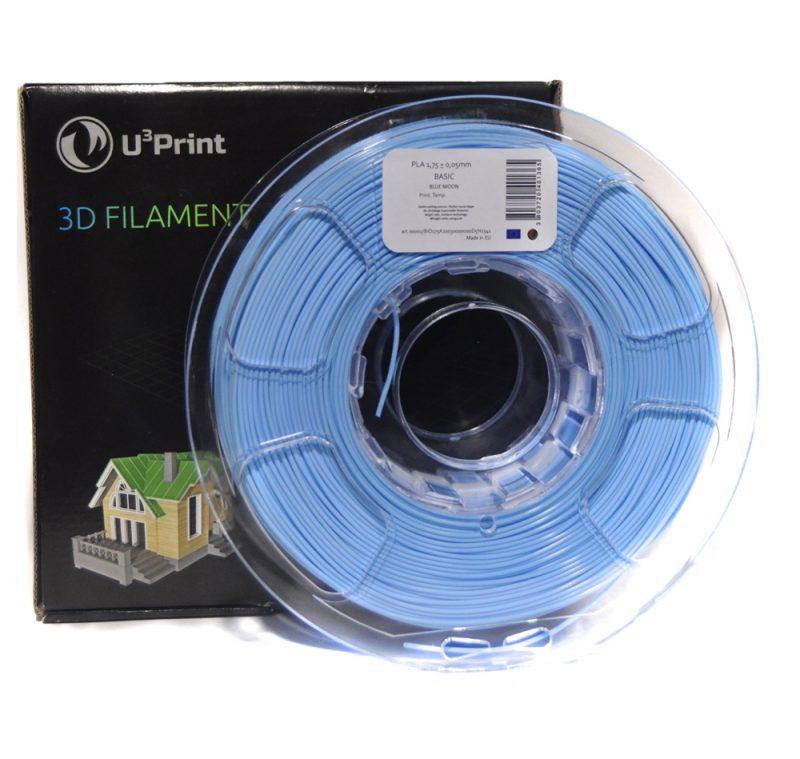 Фото Нить для 3D-принтера PLA basic Plus пластик U3Print blue moon (голубой, светлый)