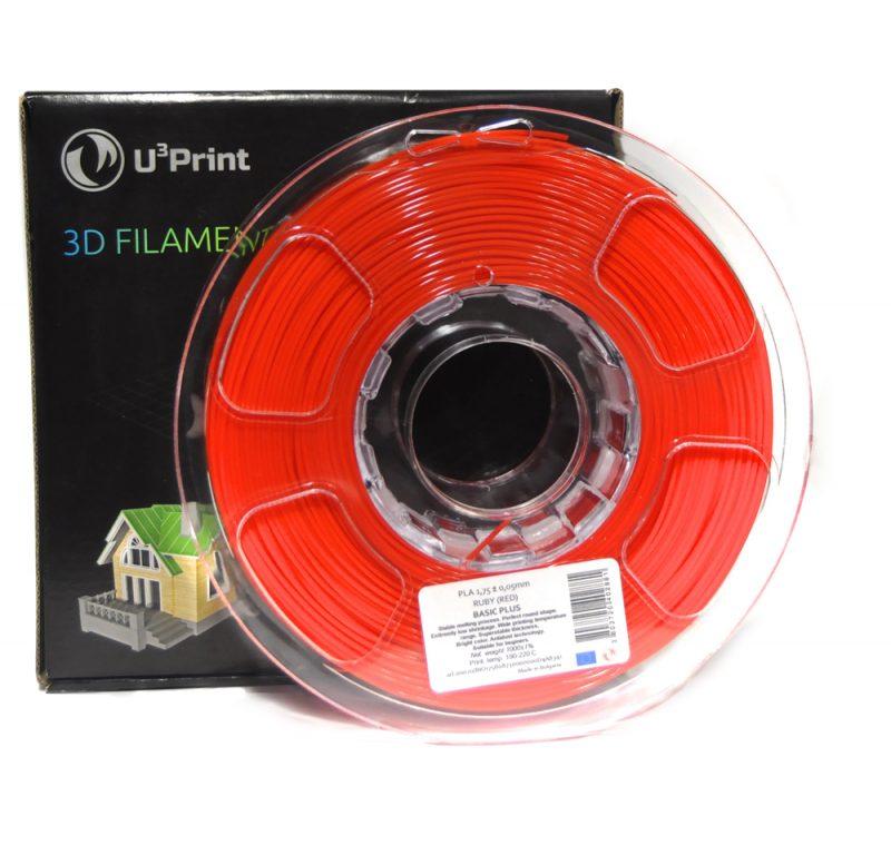Фото Нить для 3D-принтера PLA basic Plus пластик U3Print ruby (красный)