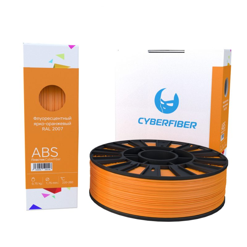 Фото нить для 3D-принтера ABS пластик CyberFiber, 1.75 мм, флуоресцентный ярко-оранжевый