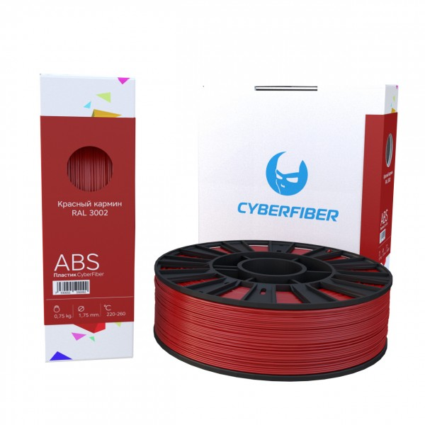Фото нить для 3D-принтера ABS пластик CyberFiber, 1.75 мм, красный кармин