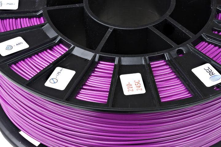 Фото нить для 3D-принтера ABS пластик REC 2,85 мм фиолетовый