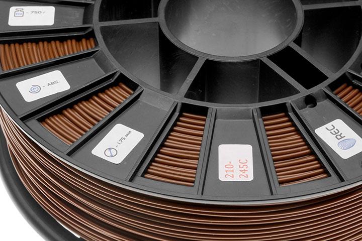 Фотография нить для 3D-принтера ABS пластик REC 2,85 мм коричневый