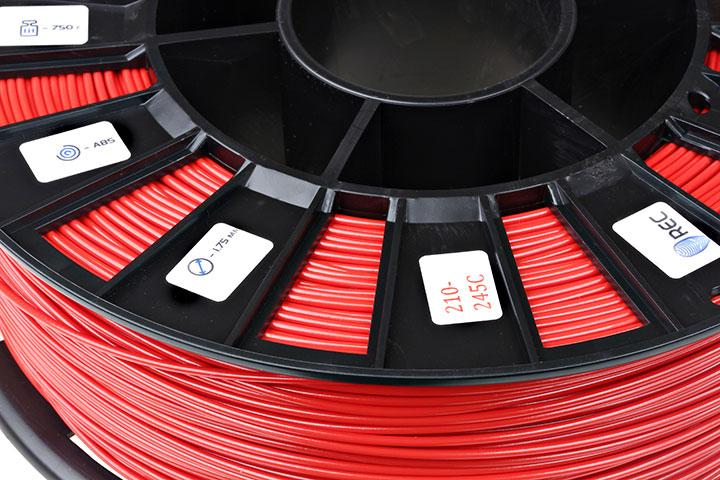 Фото нить для 3D-принтера ABS пластик REC 2,85 мм красный