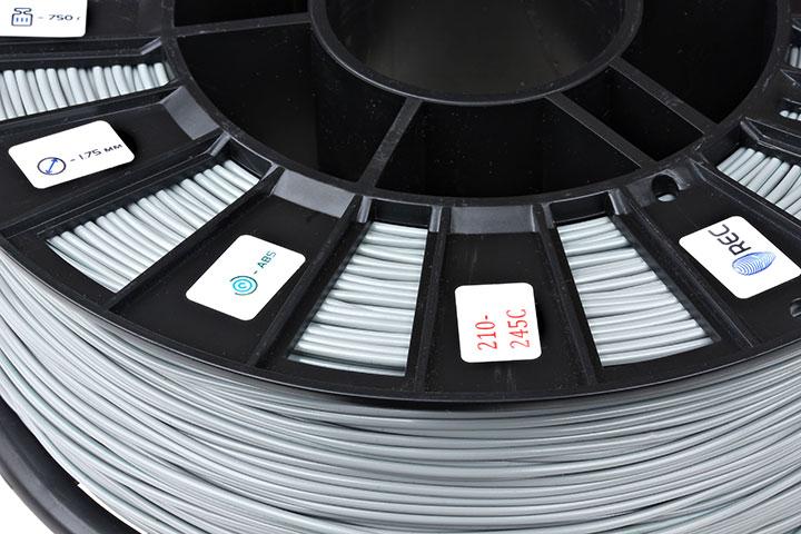 Фото нить для 3D-принтера ABS пластик REC 2,85 мм серый