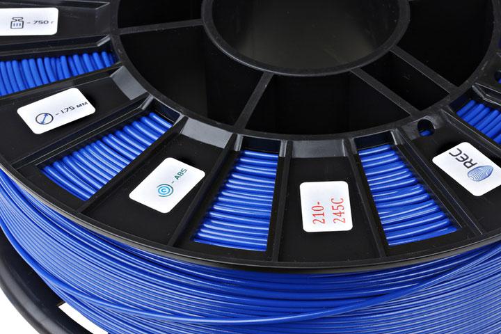 Фото нить для 3D-принтера ABS пластик REC 2,85 мм синий