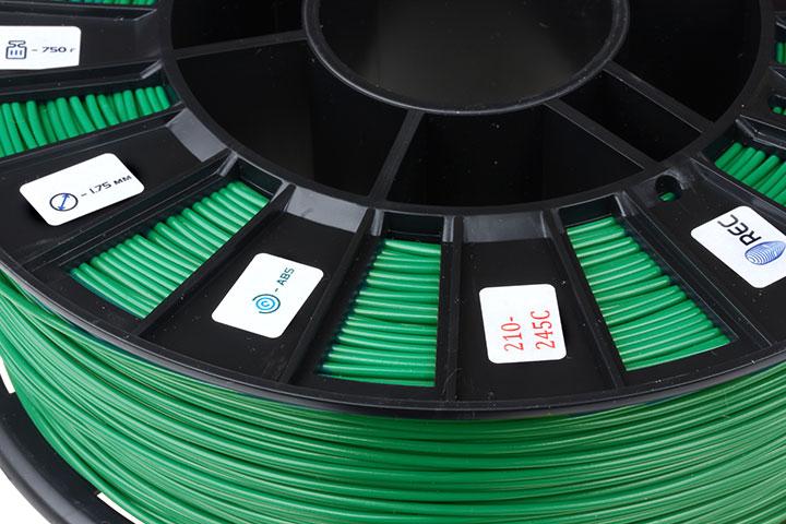 Фото нить для 3D-принтера ABS пластик REC 2,85 мм зелёный