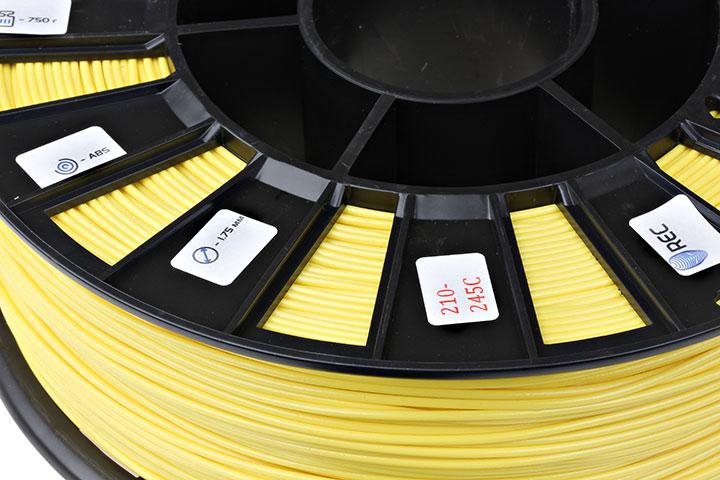 Изображение нить для 3D-принтера ABS пластик REC 2,85 мм жёлтый