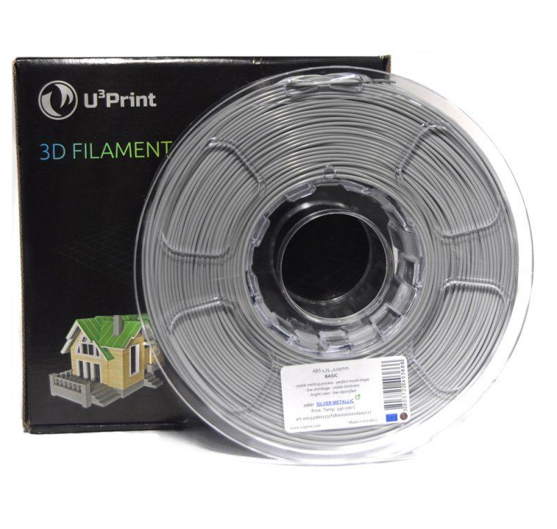 Фотография нить для 3D-принтера ABS пластик U3Print silver metallic (серебристый)