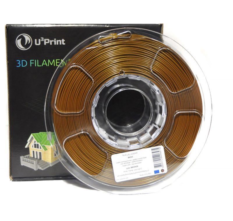 Фотография нить для 3D-принтера PLA basic пластик U3Print bronze (бронза)
