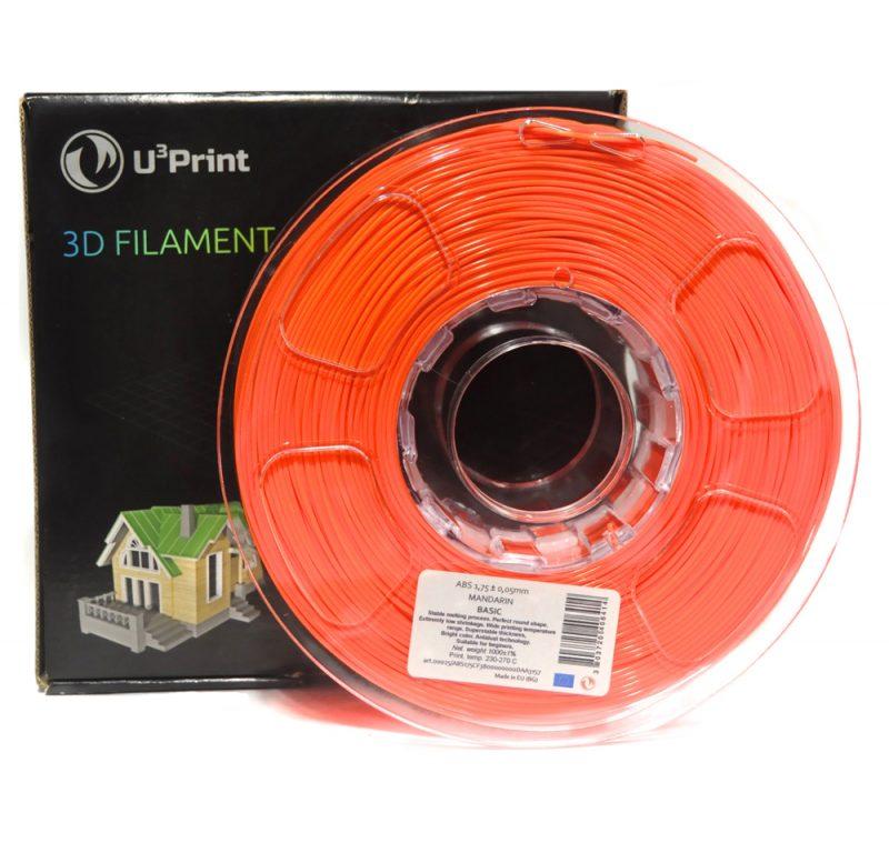 Фотография нить для 3D-принтера PLA basic пластик U3Print mandarine fluory (оранж.флуо)