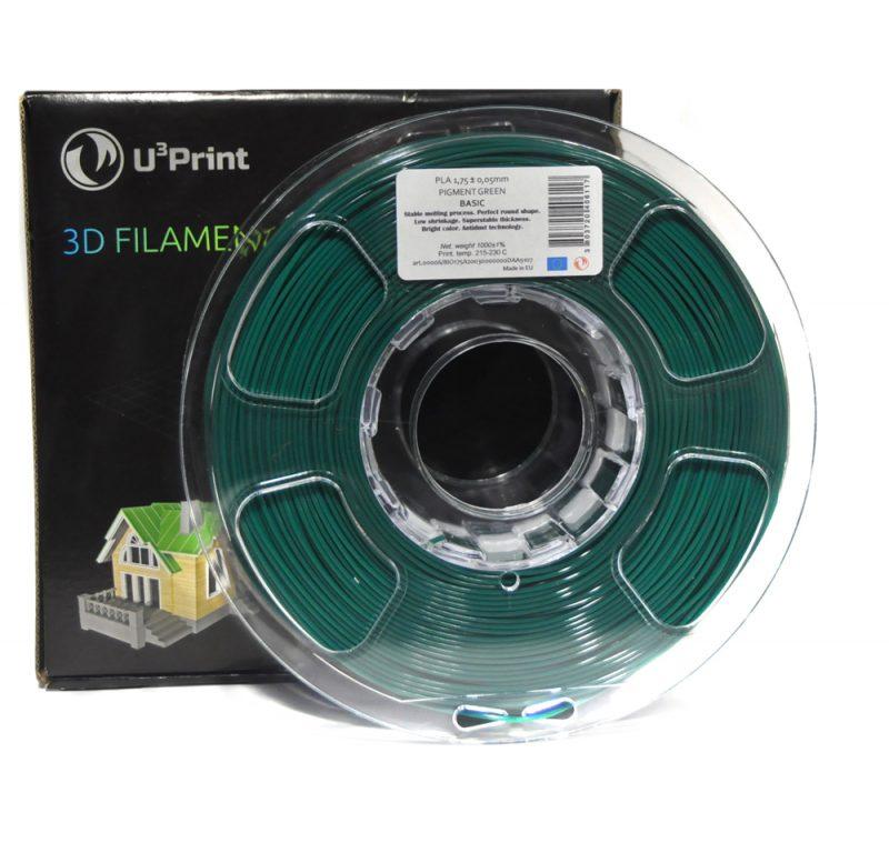 Фотография нить для 3D-принтера PLA basic пластик U3Print pigment green (т.зеленый)