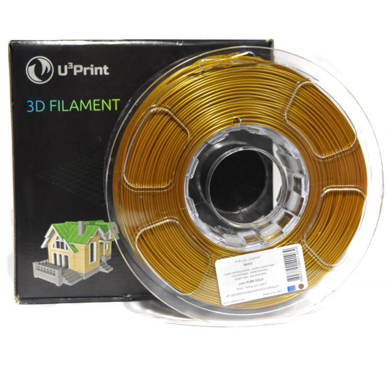 Фотография нить для 3D-принтера PLA basic пластик U3Print pure gold (золотой)