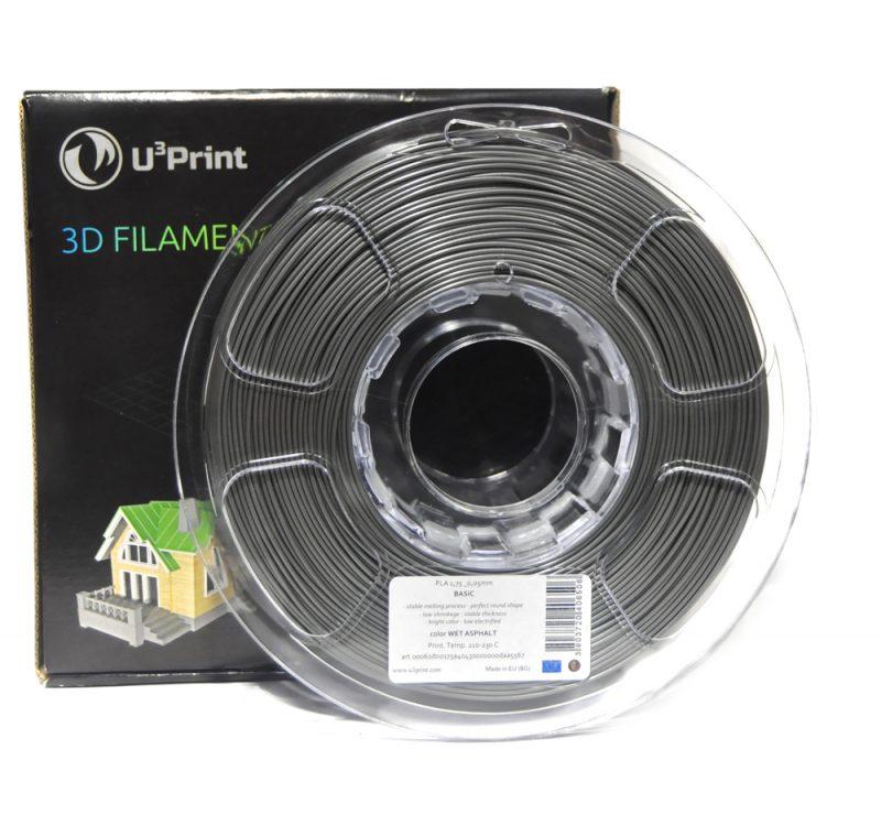 Фотография нить для 3D-принтера PLA basic пластик U3Print wet asphalt (мокрый асфальт)
