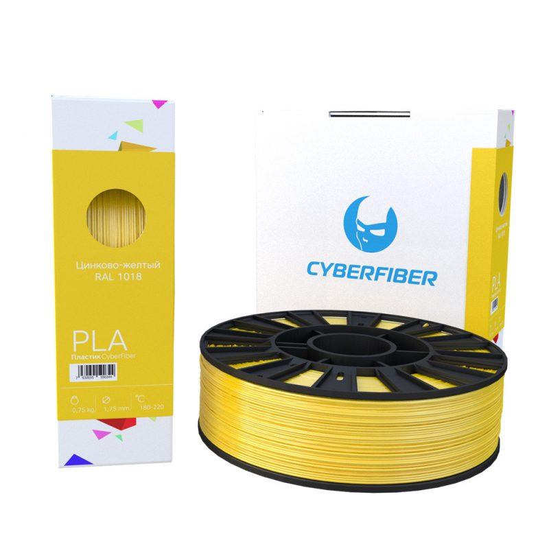 Фотография нить для 3D-принтера PLA пластик CyberFiber цинково-желтый