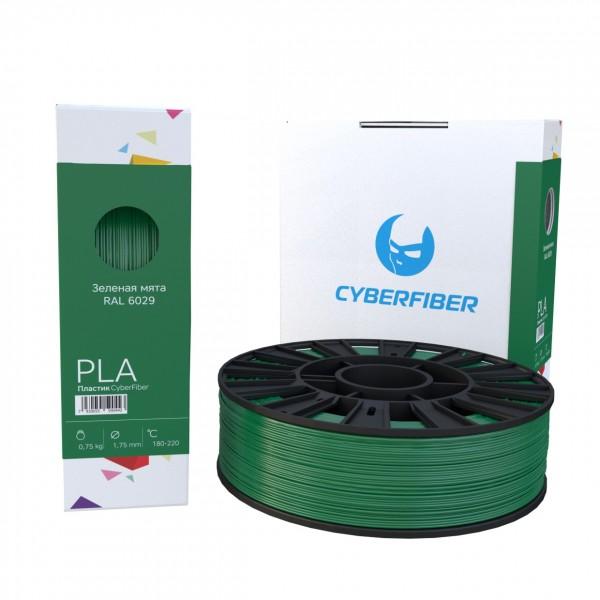 Фотография нить для 3D-принтера PLA пластик CyberFiber зеленая мята