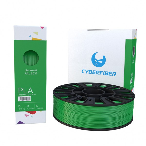 Фотография нить для 3D-принтера PLA пластик CyberFiber зеленый