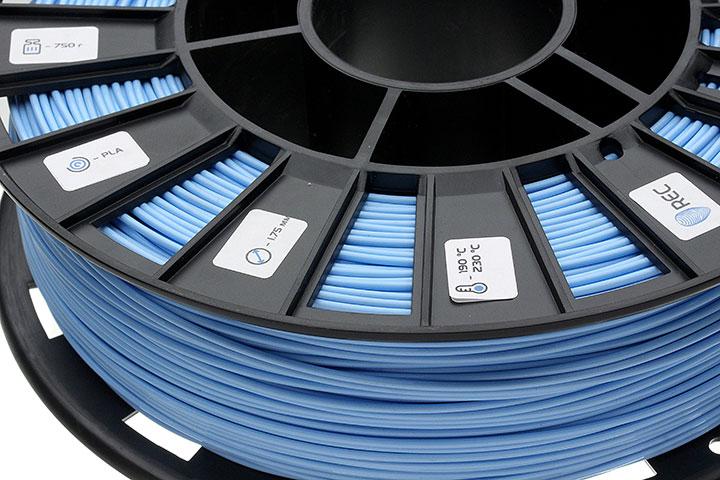 Фото нить для 3D-принтера PLA пластик REC 1.75 мм голубой