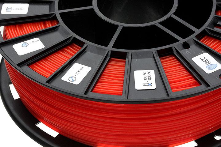Фото нить для 3D-принтера PLA пластик REC 1.75 мм красный