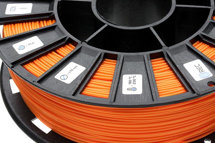 Фото нить для 3D-принтера PLA пластик REC 1.75 мм оранжевый
