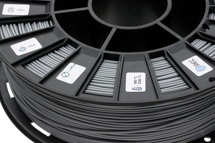 Фотография нить для 3D-принтера PLA пластик REC 1.75 мм серый