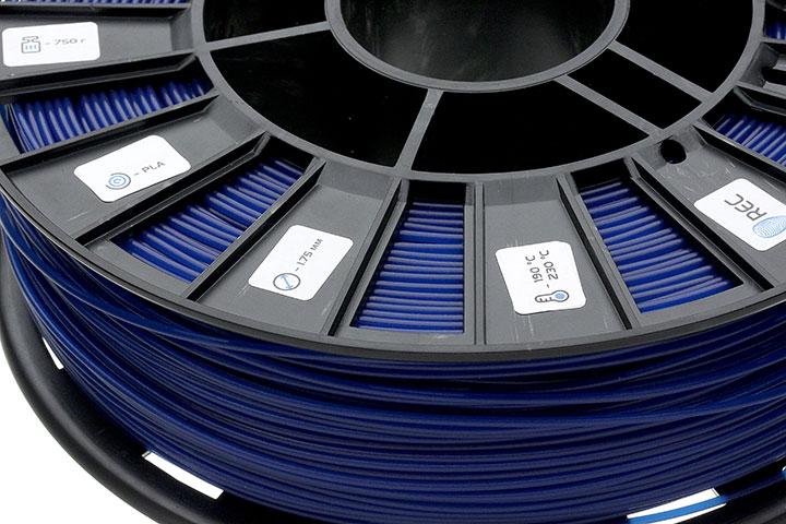 Фотография нить для 3D-принтера PLA пластик REC 1.75 мм синий