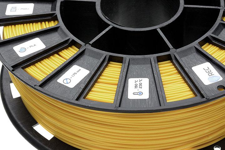Фотография нить для 3D-принтера PLA пластик REC 1.75 мм жёлтый