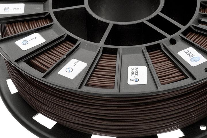 Изображение нить для 3D-принтера PLA пластик REC 2.85 мм коричневый
