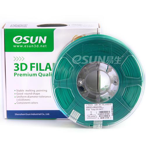 Фото нить для 3D-принтера eSUN 3D FILAMENT ABS GREEN 1.75 мм
