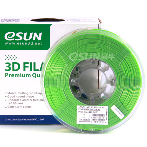 Фото нить для 3D-принтера eSUN 3D FILAMENT ABS PEAK GREEN 1.75 мм