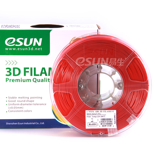 Фото нить для 3D-принтера eSUN 3D FILAMENT ABS RED 1.75 мм
