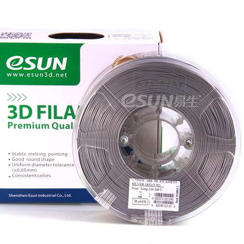 Фото нить для 3D-принтера eSUN 3D FILAMENT ABS SILVER 3.00 мм