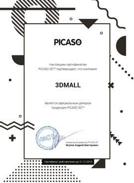 Фото Сертификат PICASO 2019 компания 3DMall