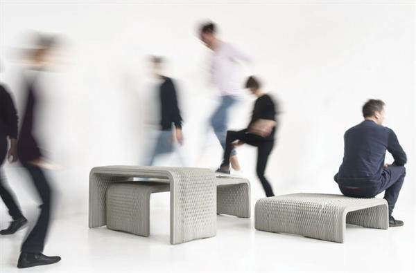 Фото бетонной скамейки-плетенки на 3D принтере 2