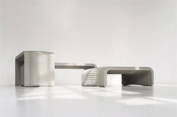Фото бетонной скамейки-плетенки на 3D принтере 4