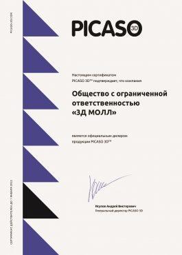 Изображение сертификат официального дилера 2021 PICASO 3DMALL